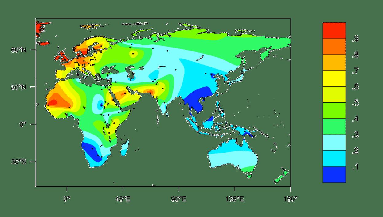 Mapa de distribución tolerancia a la lactosa