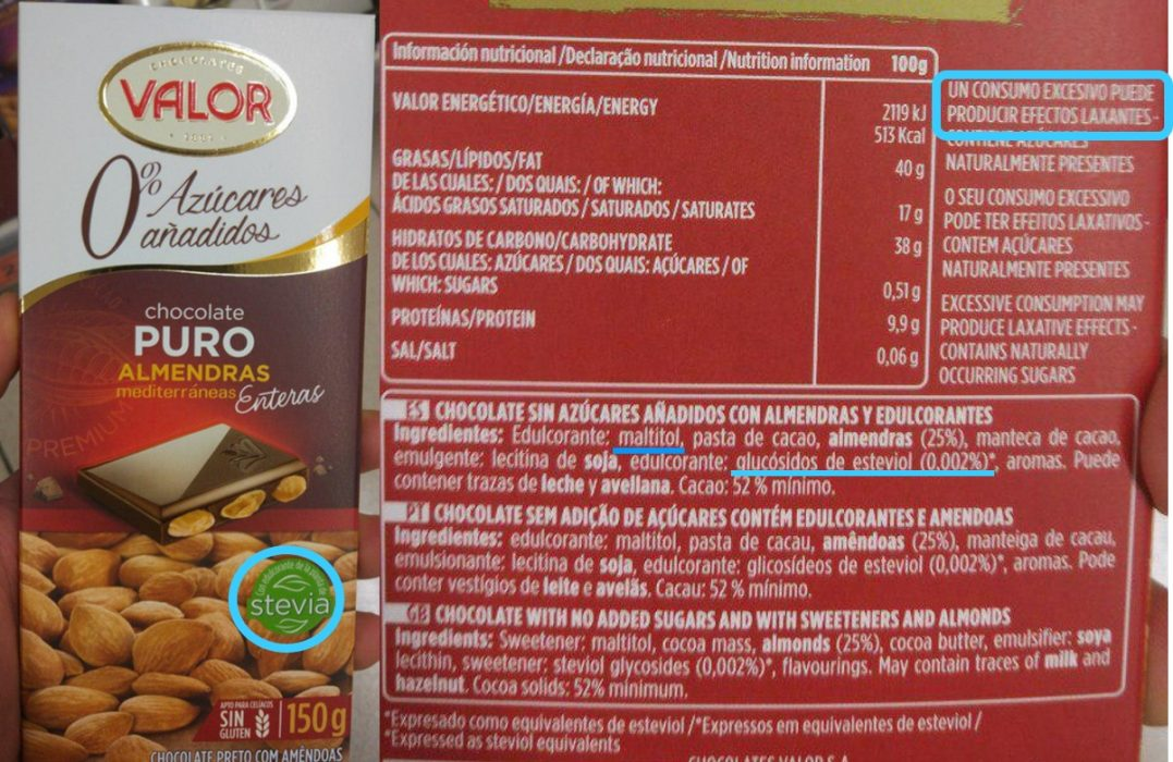 Etiqueta chocolate 70% sin azucar