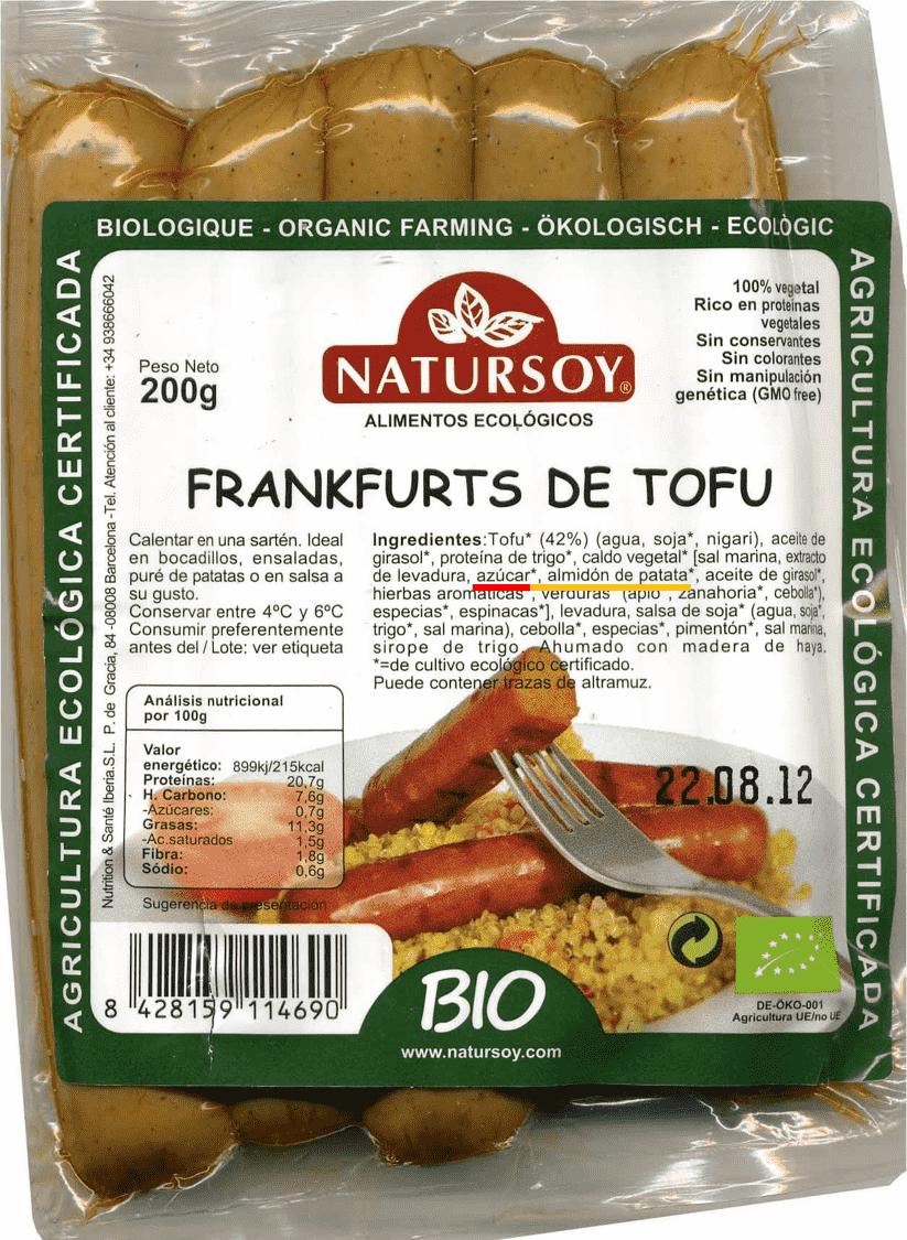 etiqueta salchichas de tofu